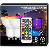 2X GU10 ha condotto la lampada cambiante di colore, Techgomade 5Watt, 2700K bianco caldo + 6000K giorno bianco + RGB a colori multipli con telecomando IR, Equivalente a 50W, 350LM, Doppia memoria
