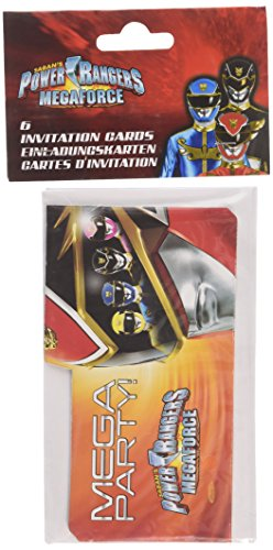 amscan Power Rangers 6-Invitations 14 cm x 8 cm und Umschläge (Up Rangers Power Dress)