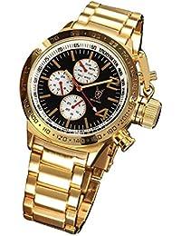 Konigswerk Mens oro tono pulsera reloj negro marcar grande cara multifunción día fecha AQ201742G