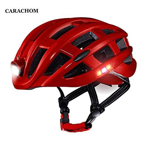 CARACHOME Mountainbike Helm mit LED-Rücklicht + tragbarer Fahrrad Helm Rucksack,Verstellbarer, tragbarer Insektennetz Helm für Erwachsene Männer und Frauen Größe M (21,25-24 Zoll) -