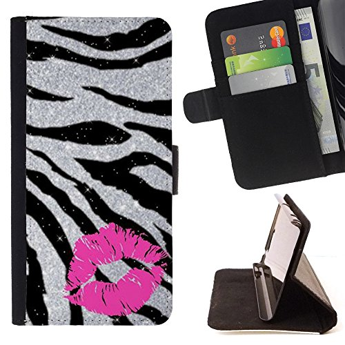 Kobe Diy Case / For Apple Iphone 6 PLUS 5.5 Kiss Zebra Fur Silver Glitter Sparkling Pink Folio PU Wallert Leather Case Pink White Zebra-snap