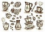dekodino Sticker mural tasses à café et couverts à café cuisines déco