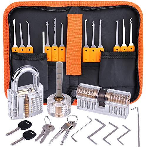 Lockpicking Set, Dietrich Set - 17-Teiliges Lock Pick Training Set mit 3 Transparentem Trainingsschlössern für Anfänger und Profis Schlosser -