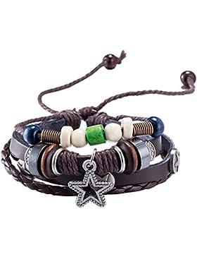 YIXUYU Armbänder für Mädchen Leder Geflochten Handgemacht Stern