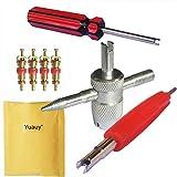 Yuauy 4-Wege-Reifenventil-Vorbau-Reparatur-Werkzeug + 4 Stück Messing-Ventilkern + 2 in 1 Einzel- und Doppelkopf-Ventilkern, Reifenreparatur-Werkzeug