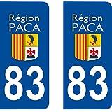 2 Stickers Autocollant style Plaque Immatriculation département 83