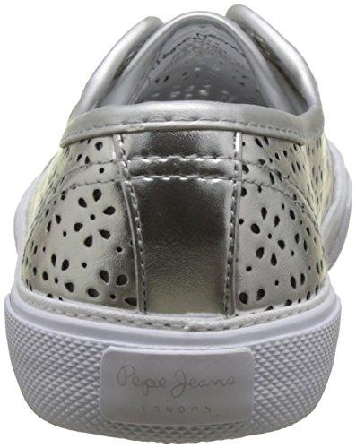 Pepe Jeans London Aberlady Daisy, Baskets Basses Pour Femme Argent (argent)