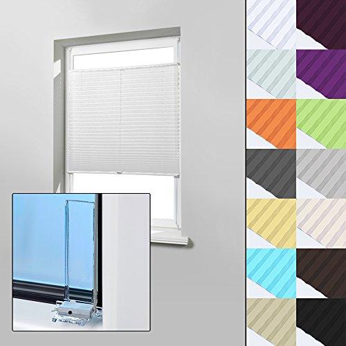 Home-Vision Plissee Faltrollo ohne Bohren zum Kleben Innenrahmen (Weiß, 90 x 100cm) Blickdicht Sonnenschutz Jalousie für Fenster & Tür
