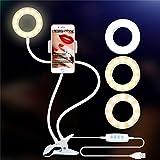 hangang Autodisparador de Anillo luz con Soporte para Live de y Maquillaje, lámpara LED de vídeo con Flexible Largo Brazo, Apto para iPhone, Android de teléfono móvil