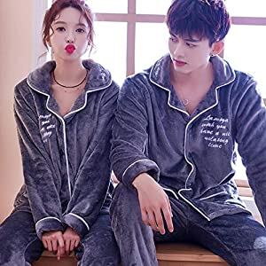 Kllomm Winter Paar Pyjamas Set Langarm Coral Velvet Lovers Pyjamas Männer & Frauen Cute Sleepwear Freizeit Home Wear…