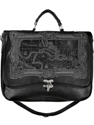 Restyle Black Caribbean Map Embroidery Pirate Steampunk Messenger Bag (Steampunk Pirate)