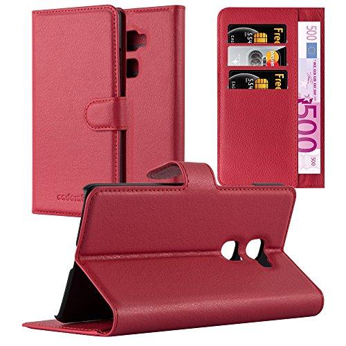 Cadorabo Hülle für Huawei Mate S - Hülle in Karmin ROT – Handyhülle mit Kartenfach und Standfunktion - Case Cover Schutzhülle Etui Tasche Book Klapp Style