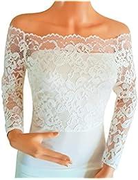 lowlita diseños novia marfil o Blanco apagado el hombro, elástica de encaje, manga larga Bolero/Bolero/chaqueta tamaños 8TO 18