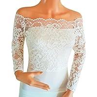 Lowlita Designs da sposa avorio o bianco Off The Shoulder, pizzo elasticizzato, maniche lunghe Bolero/coprispalle/Giacca Taglie da 8a 18