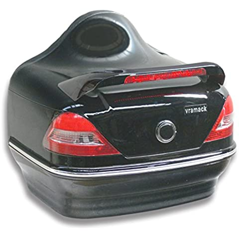 Baul rigido para moto custom de 31 litros de capacidad, con pilotos y respaldo. Color negro brillo.