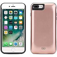 "Funda Batería iphone 7 Plus, Lenuo Funda Protectora Cargador con Batería 7500mAh Carcasa Protectora Recargable para iPhone 7 Plus 5.5"", Color Oro Rosa"