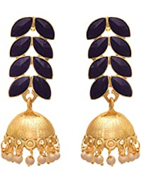 JFL - Fusion Ethnic One Gram Gold Plated Stone Designer Jhumki Earring For Women & Girls