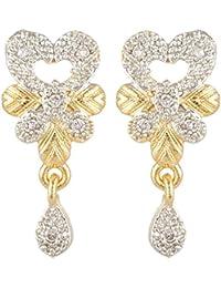SKN Silver And Golden American Diamond Dangle & Drop Alloy Stud Earrings For Women & Girls (SKN-3346)