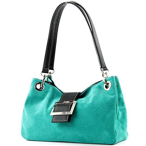 ital. Mesdames sac à main fourre-tout Satchel sac en cuir suède Petit TL02, Präzise Farbe (nur Farbe):Türkis_1
