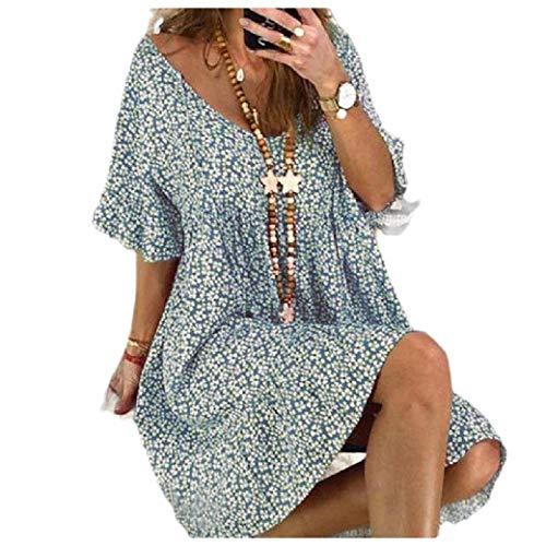 VITryst Women Skinny V-Neck Short Dress Print Trumpet Sleeve Shirt Dress Sky Blue XS (Prom Blue Dress Low High)