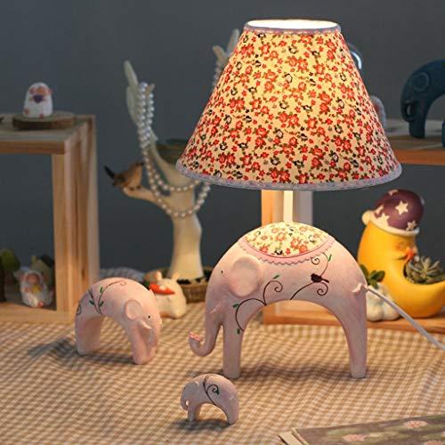 XHX Lámparas de mesa, lámparas de mesa de dormitorio para niños de personalidad simple, lámpara de elefante de bebé de moda creativa, lámpara de mesita de noche regulable, luz de lectura de base rosa