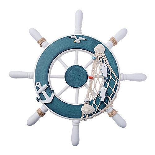 BETESSIN (Diámetro 32cm) Timón Bacro de Madera Rueda Volante Barco Estilo Mediterráneo Color Azul Mango Blanco Decoración Náutica para Pared Hogar