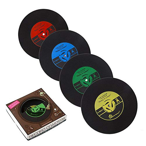 PBELE 6x Retro CD Record Vinyl Coffee Drink Cup Mat Coasters