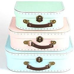 Sass & Belle - Set de 3 cajas con diseño de maleta vintage en colores pastel (3 tamaños distintos), color verde, rosa y azul
