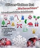 Glitzer Tattoo SET Kinder Weihnachten/Christmas mit Profikleber, 2 Pinsel, 5xGlitzer, 16 Schablonen