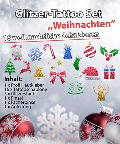Glitzer Tattoo SET Kinder Weihnachten/Christmas mit Profikleber, 2 Pinsel, 5xGlitzer, 16 Schablonen -