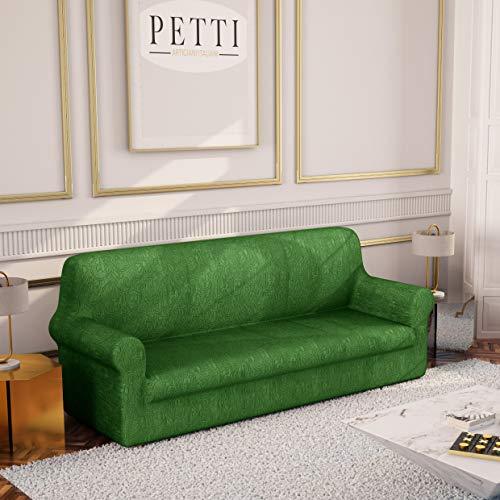 PETTI Artigiani Italiani - Copridivano, Copridivano Elasticizzato, Copridivano 3 Posti, Verde, Tessuto Jaquard, 100% Made in Italy