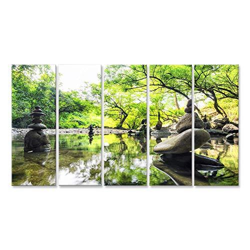 islandburner Cuadro Cuadros Impresión sobre Lienzo - Formato Grande - Cuadros Modernos Jardín Zen de Japón