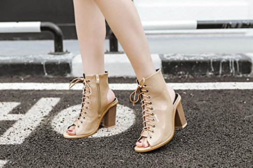 LvYuan-mxx Sandales femme Printemps Été Confort Cuir Cuir Lacets Hollow Chunky talons Mariage Bureau & Carrière Party & Evening Dress bottines APRICOT-34