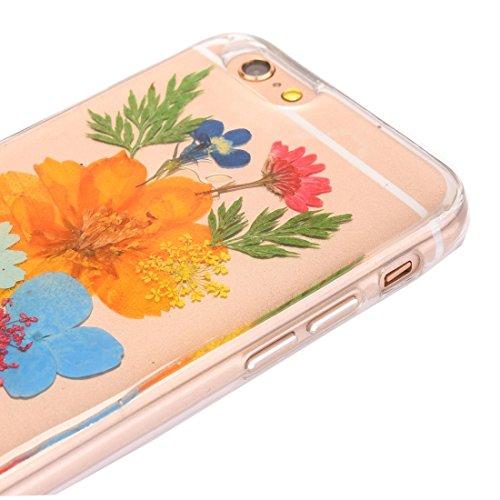 Wkae Epoxy Dripping gepresste echte getrocknete Blume weiche transparente TPU Schutzhülle für iPhone 6s Plus ( SKU : Ip6p2996p ) Ip6p2996q