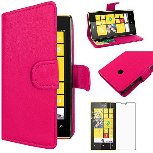 ebestStar - Coque Nokia Lumia 520 Etui PU Cuir Housse Portefeuille Porte-Cartes Support Stand, Rose + Film Protection écran Verre Trempé [Appareil: 119.9 x 64 x 9.9mm, 4.0'']
