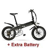 G660 48V10Ah batterie cachée par puissance élevée 20 'se pliant électrique vélo de montagne, cadre d'alliage d'aluminium, fourche de suspension (Black Grey Plus Extra Battery)