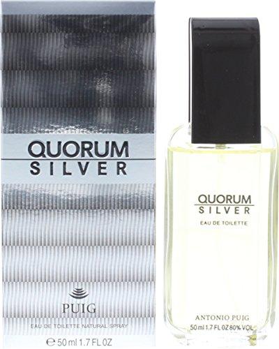 Antonio Puig Quorum Silber 50ml Eau de Toilette Herren Essence Spray mit Geschenk Tüte
