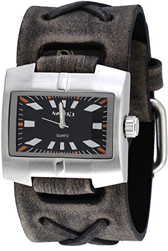 Nemesis #FXB060K Men's Racing Sport Collection Grey Wide Leather Cuff BNand Watch
