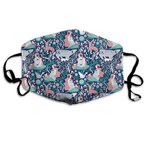 Mother Nature Scandinavian Inspiration Scale Navy Background Aqua And Pink Details Anti Dust Mask Anti Pollution Washable Reusable Mouth Masks