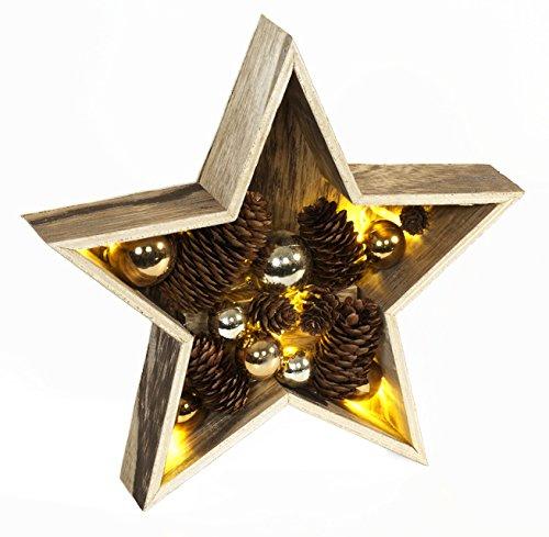 LED Deko-Stern aus Holz mit Zapfen und Kugeln, 28 cm, natur-gold 87695