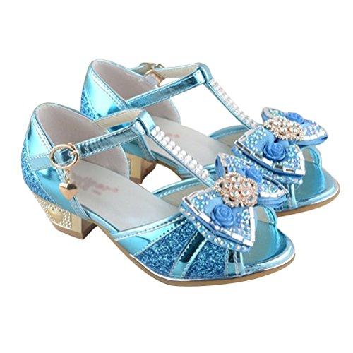 Brinny Fille Princesse Chaussures tête de poisson Ballerines Sandale petite talon demoiselle d'honneur marié anniversaire partie Paillettes cristal bowknot fleur decor Bloc 3cm Bleu