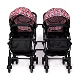 YIHANGG Twins Baby Kinderwagen 2 In 1 Kinderwagen Kinderwagen Luxus Reversible Kleinkind High View Neugeborenen Kinderwagen,Multi-colored