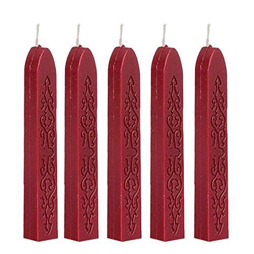 5 Stück JUYUAN-EU Siegelwachs Bunte Kerze Quadratisch Siegellack 5 Stangen Antike Dichtung für Briefe Stick mit Docht Wein Rot