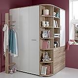 Kinderzimmer Eck-Kleiderschrank begehbar + Garderobe, Sonoma Eiche weiß