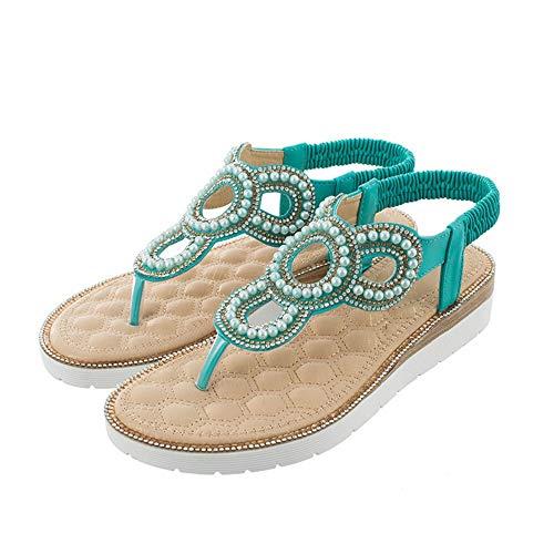 YYAMO Sandalias para Mujer Flor Verde Rhinestone Moda de Vacaciones Informal Zapatos de Playa de Gran...