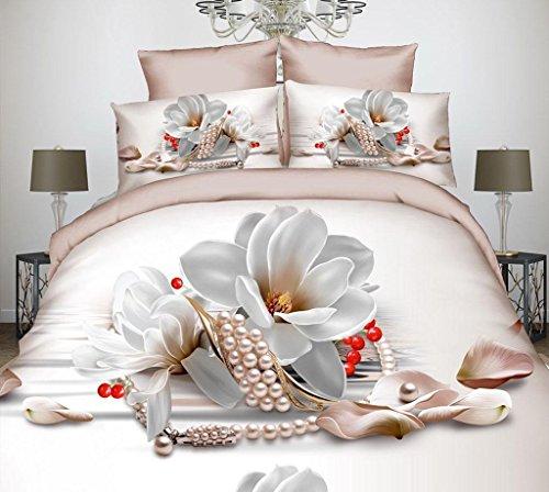 Herzförmiger Bettbezug Set (Marcus R Caveggf 3D-Effekte-Bettwäsche 4 Stück Set Herzförmig Rose Blumen einschließen Bettbezug (200 * 230cm) Blätter Kissenbezug Polyester Geeignet für einzelnes Doppelbett, A)