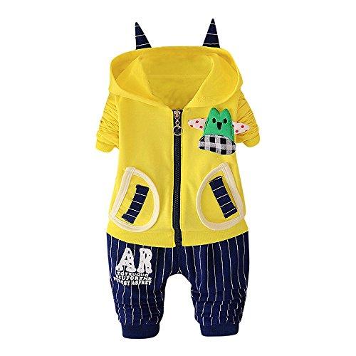 Baby Kleidung Anzug Hirolan 2Stk Säugling Karikatur Drucken Mit Kapuze Tops Outfits Kleinkind Baby Jungen Reißverschluss Kapuzenpullover Blau Streifen Hose Kleider Set (70cm, Gelb)
