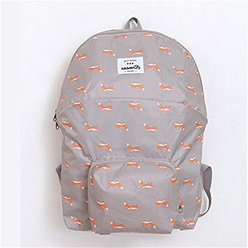 Kansoon Leichter und Robuster Faltbarer Rucksack für Männer, Frauen und Kinder - als Reiserucksack, Tagesrucksack, Handgepäck für mehr Stauraum (Grau)