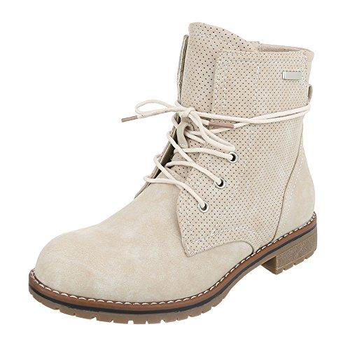 (Ital-Design Schnürboots Damen-Schuhe Combat Boots Blockabsatz Schnürer Schnürsenkel Stiefeletten Beige, Gr 37, Ja3189-)