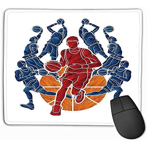 Silikon Gel Handauflage Mouse Mat,Mauspad Basketball Team Player Dunking Tropf Ball Aktion Grafik Aquarell Rechteck Gummi Mousepad 25X30Cm